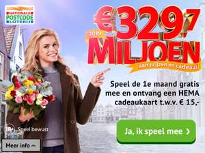 Postcodeloterij 1e maand gratis + HEMA cadeaukaart van 15€