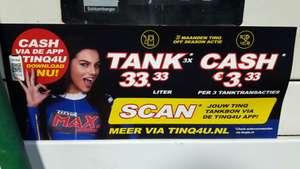 Tinq 3x 33,33 L tanken en krijg E 3,33 cashback.