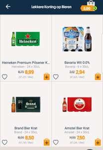 Amstel bier voor €7.50 per kratje. Heineken €8.99