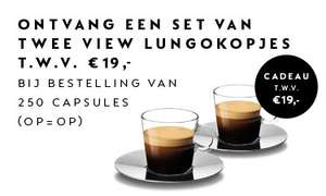 Nespresso: bij 250 capsules gratis set lungokopjes