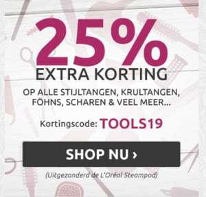 Nu 25% EXTRA Korting op alle stijtangen, krultangen, scharen en andere tools!(Uitgezonderd Steampod & Blue Lightning)