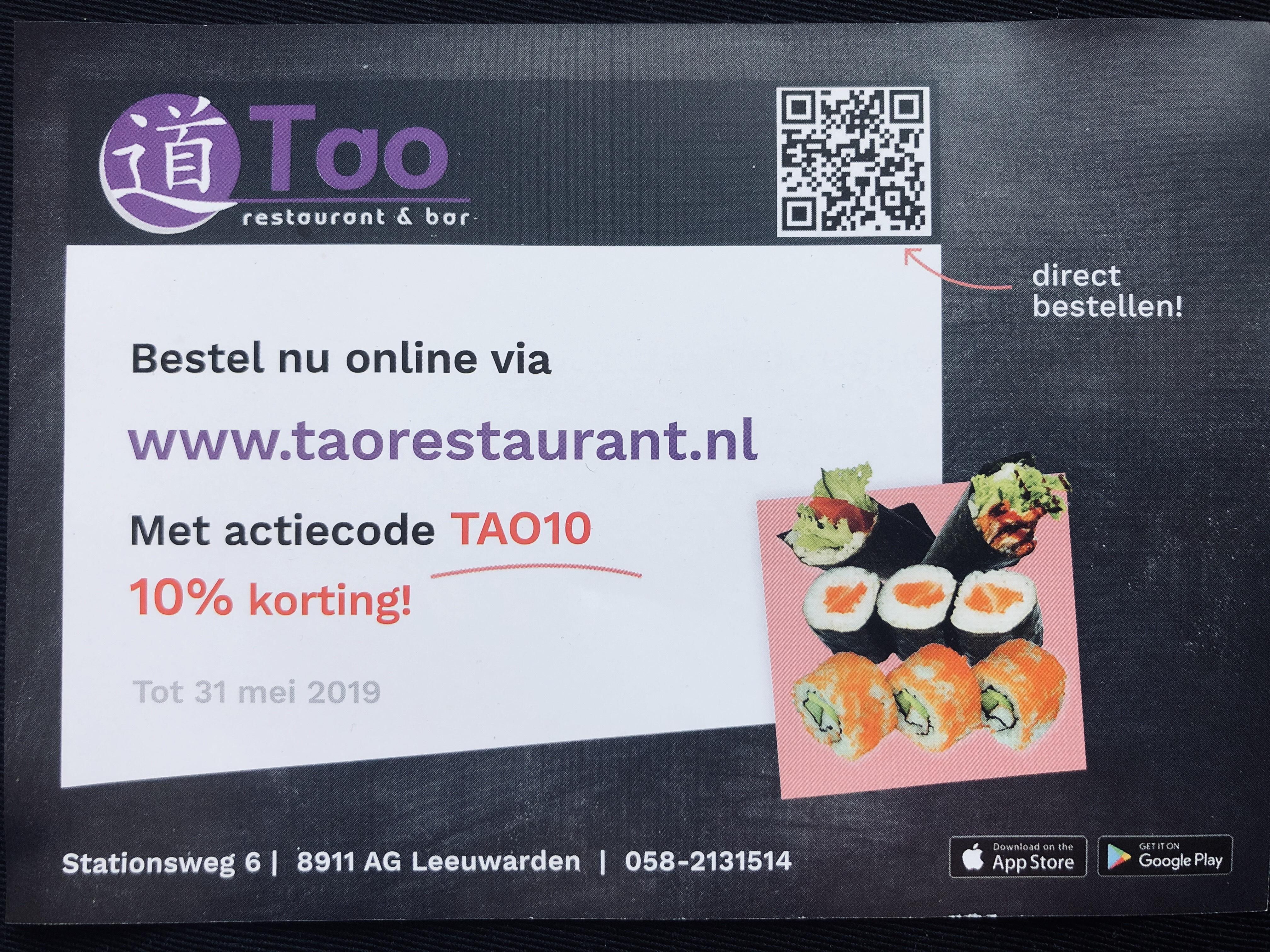 [Leeuwarden] 10% korting bij Tao Sushi restaurant