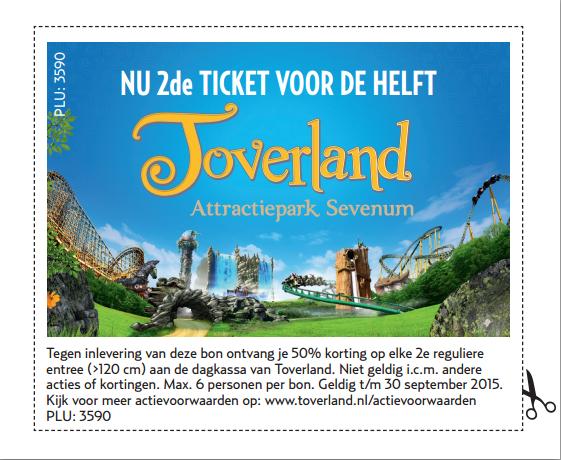 Waardebon voor tweede ticket halve prijs @ Toverland