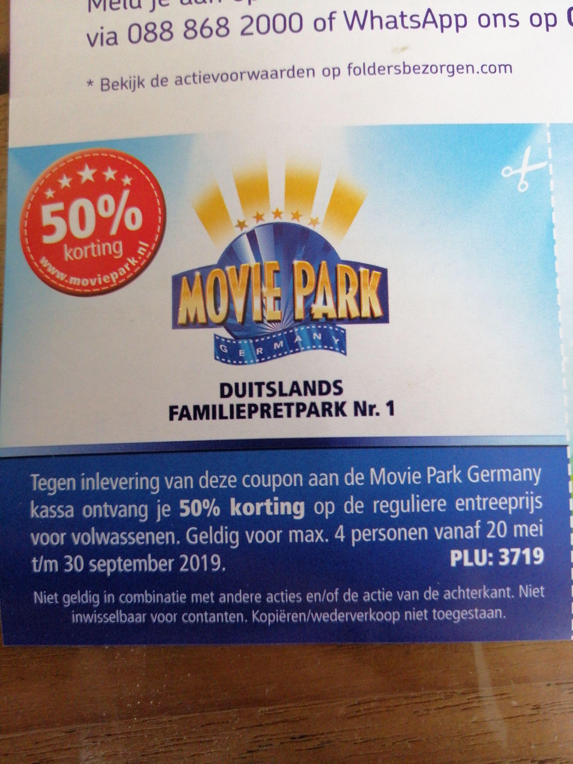 50% korting bij Moviepark Germany