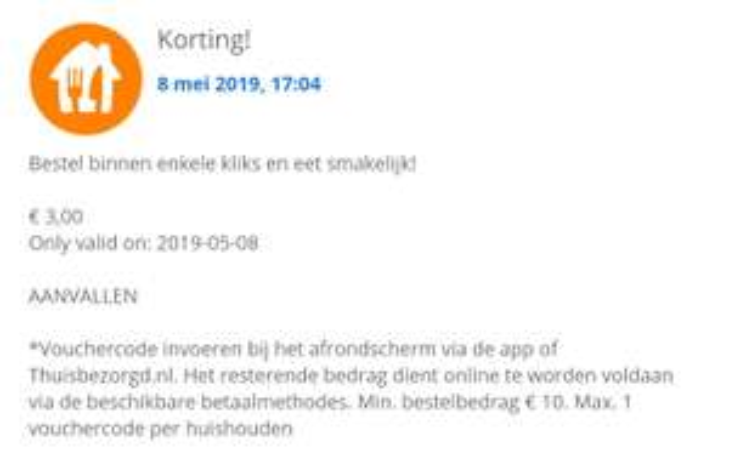 Thuisbezorgd 3 euro App korting
