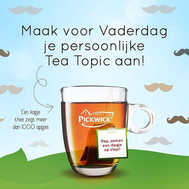 Maak voor Vaderdag (gratis) je persoonlijke Pickwick Tea Topic aan! (theezakje met eigen label)