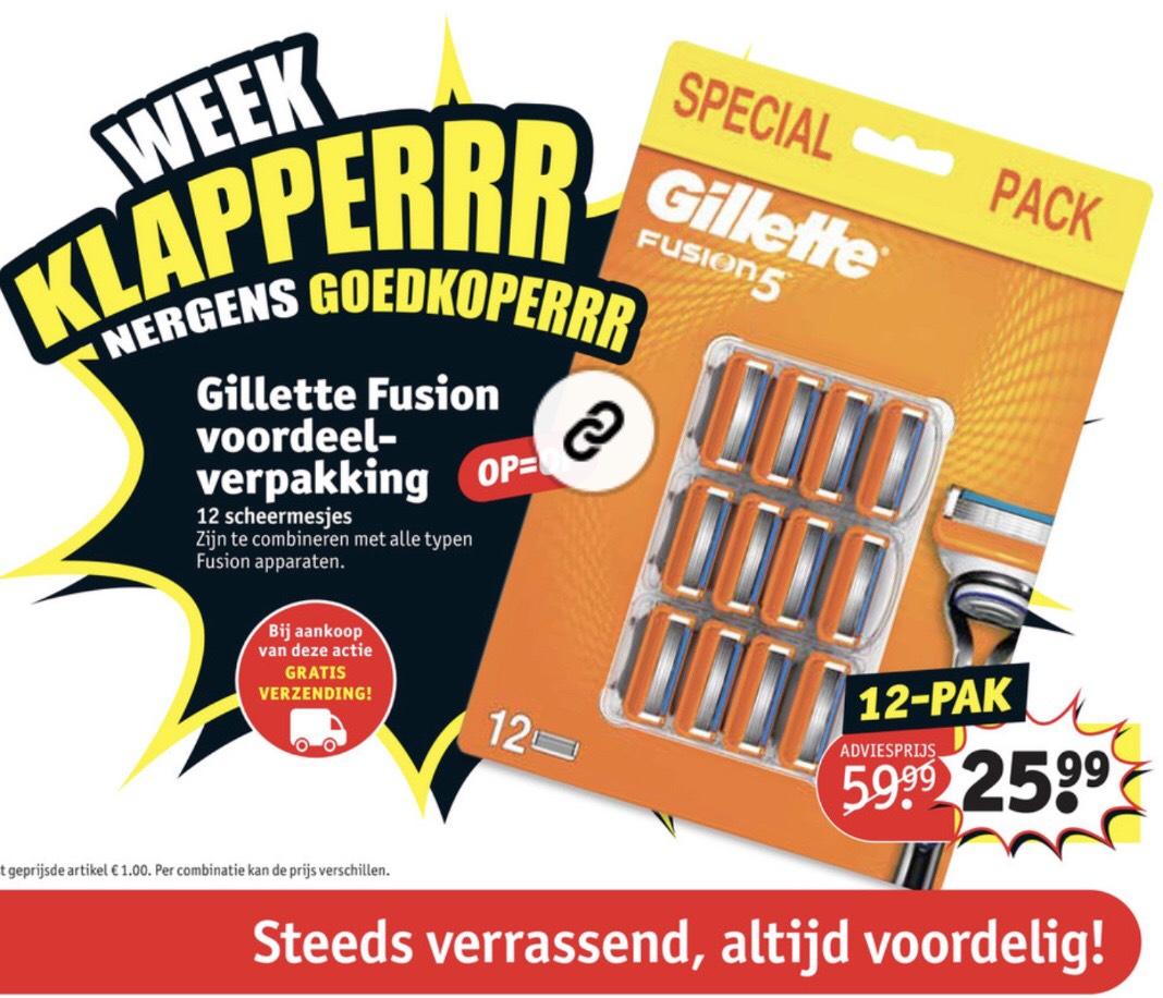 Gillette Fusion 12-pak voor 25,99 @Kruidvat + gratis verzending
