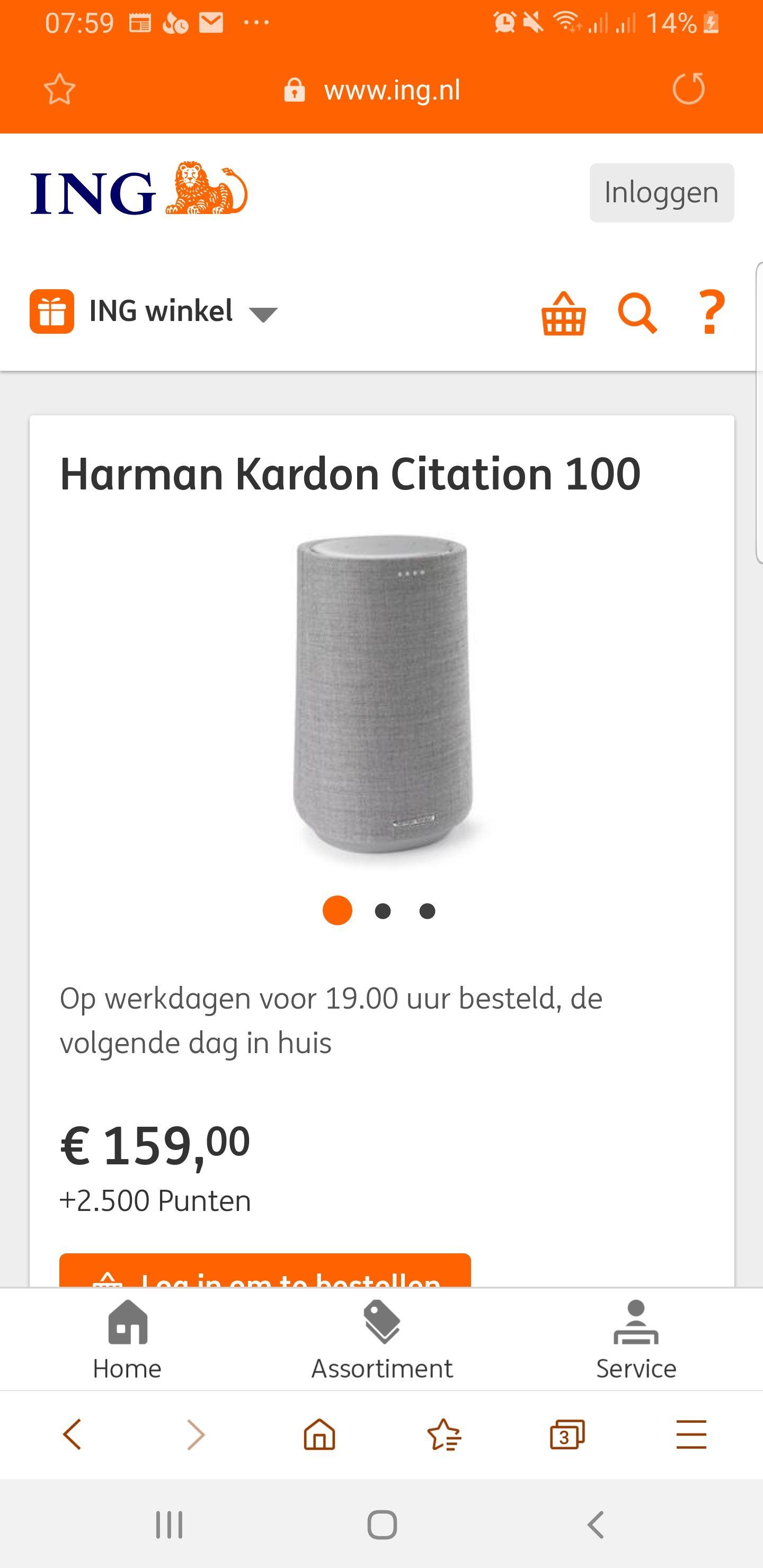 voor 2500 ING punten + €159,- Harman Kardon Citation 100
