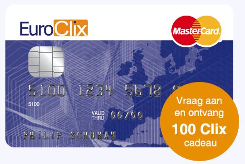 Gratis EuroClix MasterCard (1 jaar) & 0,25% cashback op aankopen!