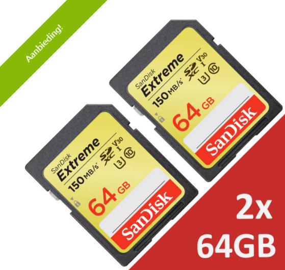 Sandisk SDXC 64GB x 2 @DATAIO, +/- 20% extra korting 33,90 euro (2)