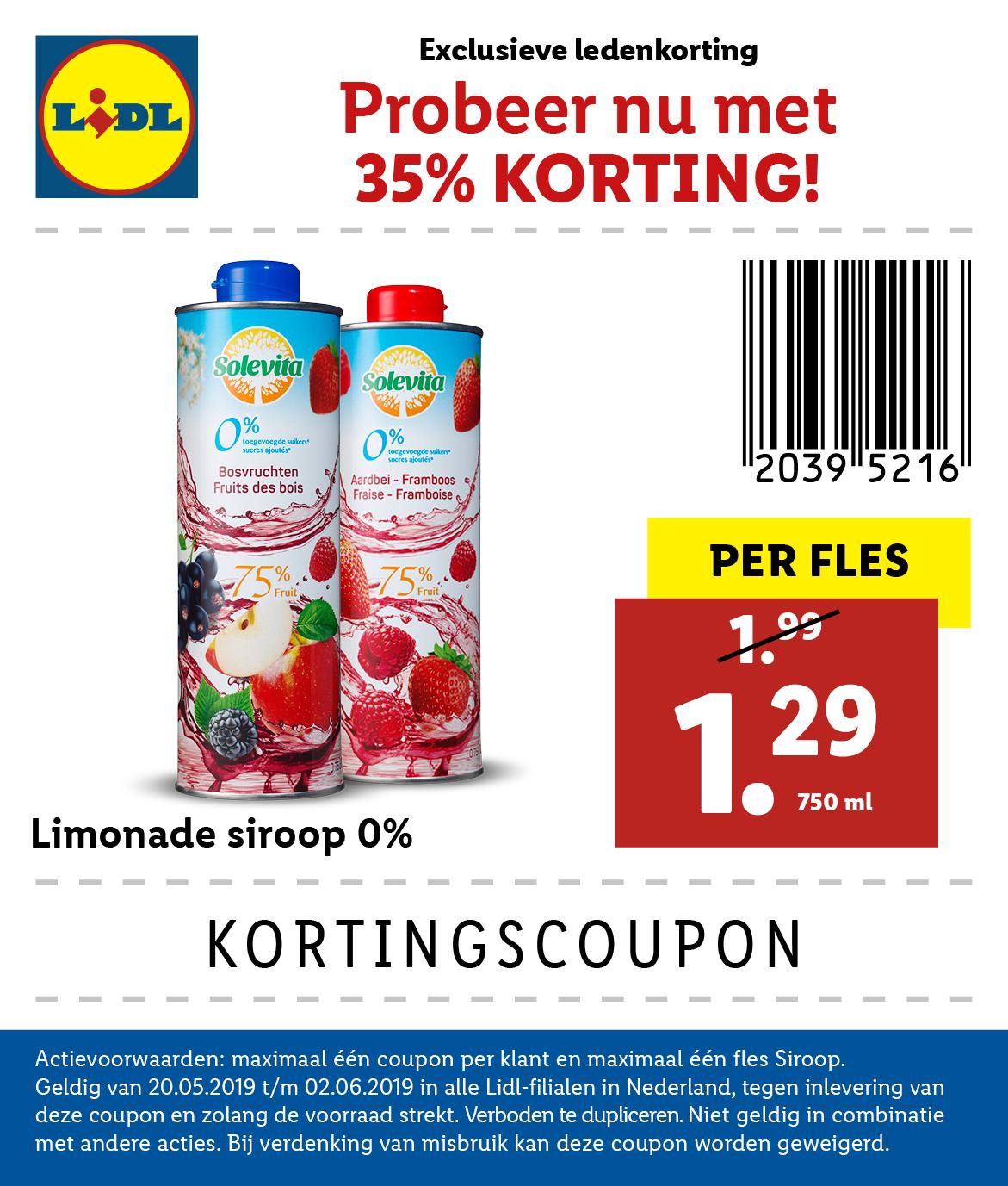 Lidl kortingscoupon: Solevita limonadesiroop 750 ml van €1,99 voor €1,29