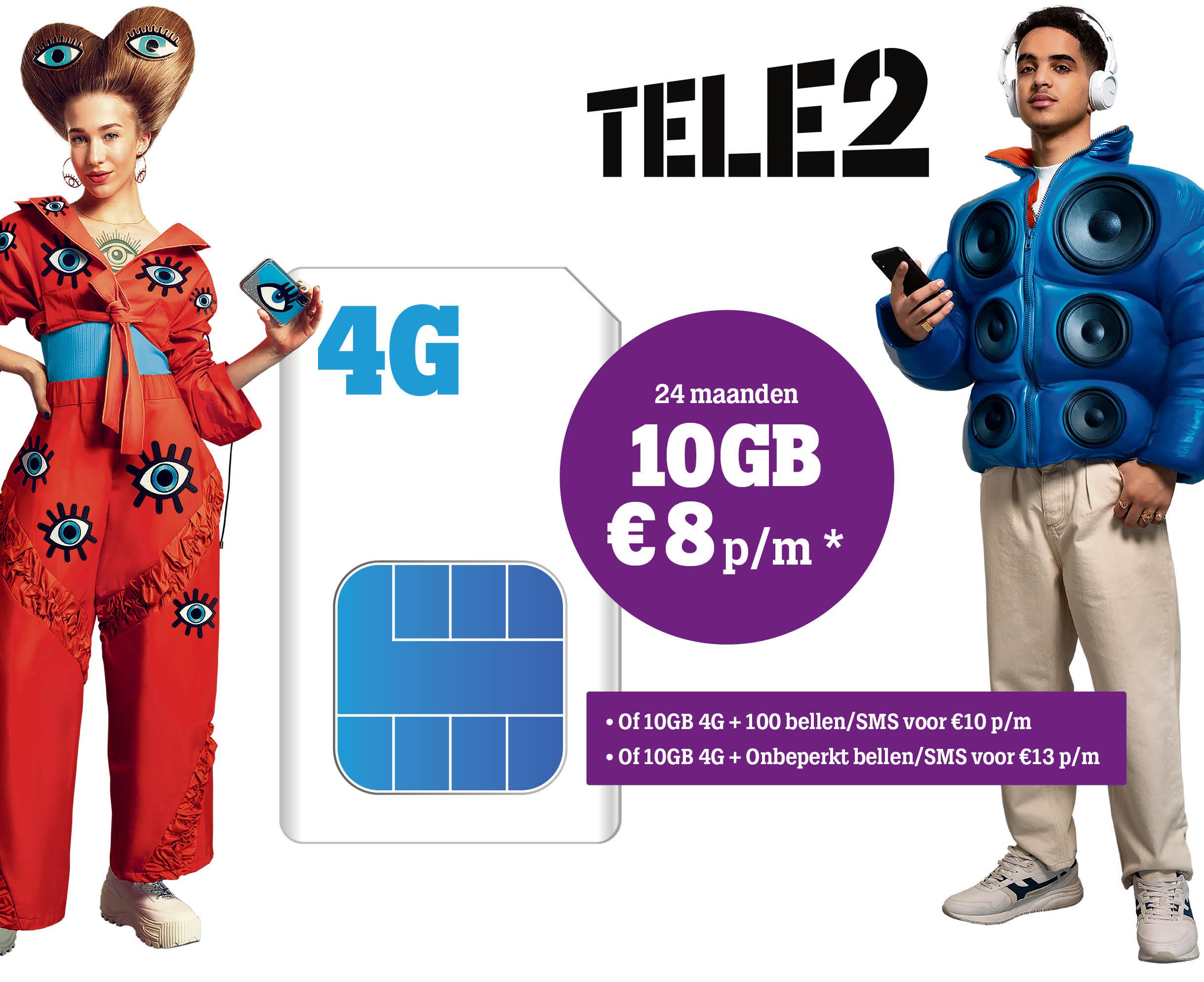 5,- korting op 10GB Sim Only van Tele2!