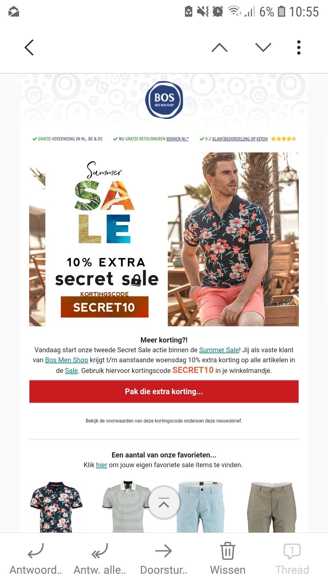 10% extra korting op alle sale artikelen bij Bos Men Shop