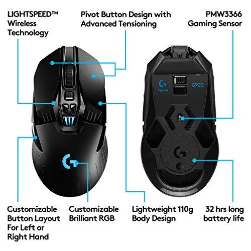 Logitech G903 Wireless Gaming muis (met draadloze powerplay-aufladetechnologie en lightspeed), Swart
