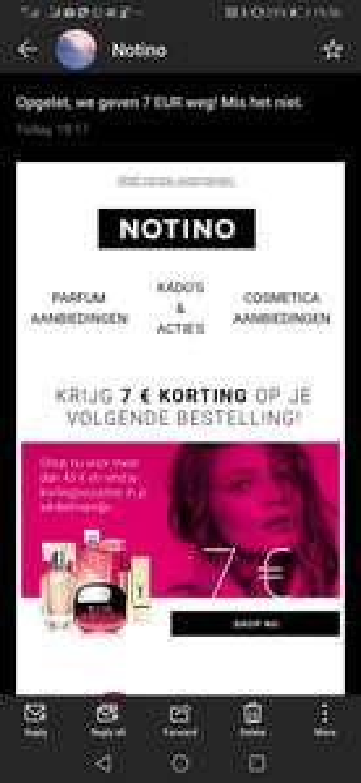 Notino -7€ korting op je volgende bestelling bij aankoop boven 45€