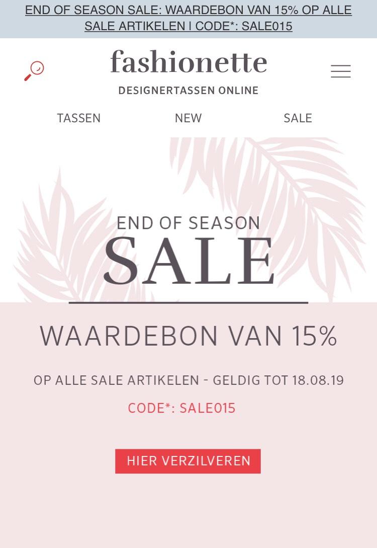 15% extra korting op alle sale artikelen bij Fashionette