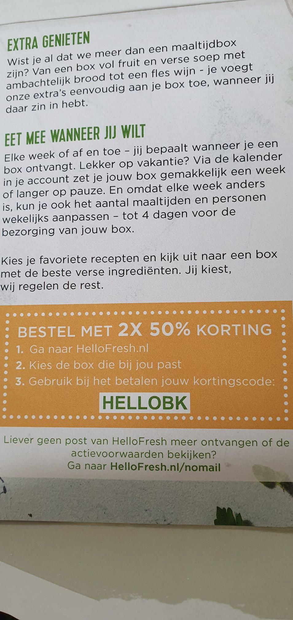 50% korting op 2 boxen van HelloFresh