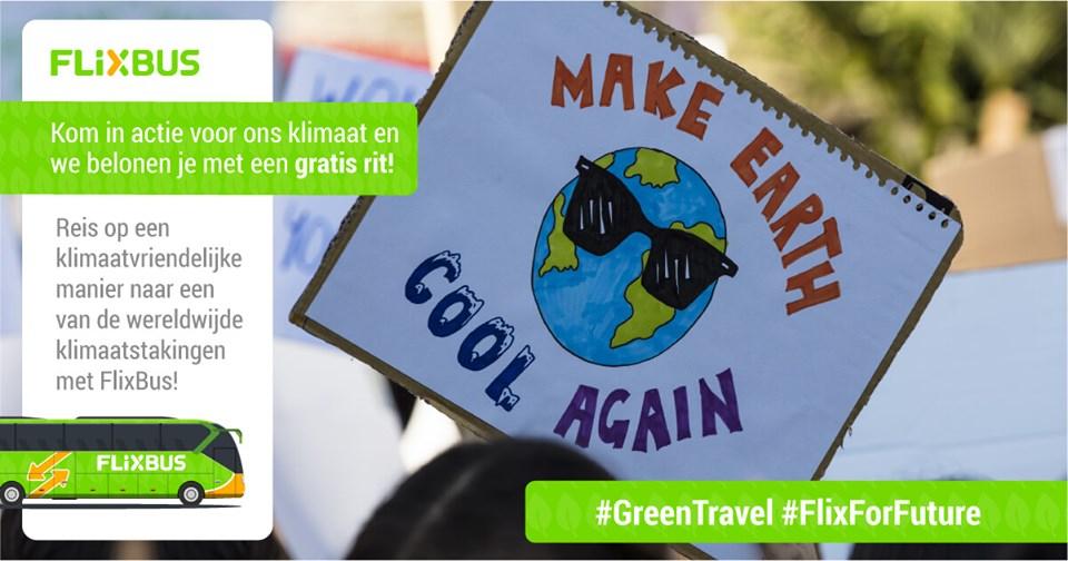 Gratis rit met FlixBus bij deelname aan de wereldwijde klimaatstaking op vrijdag 20 of 27 september