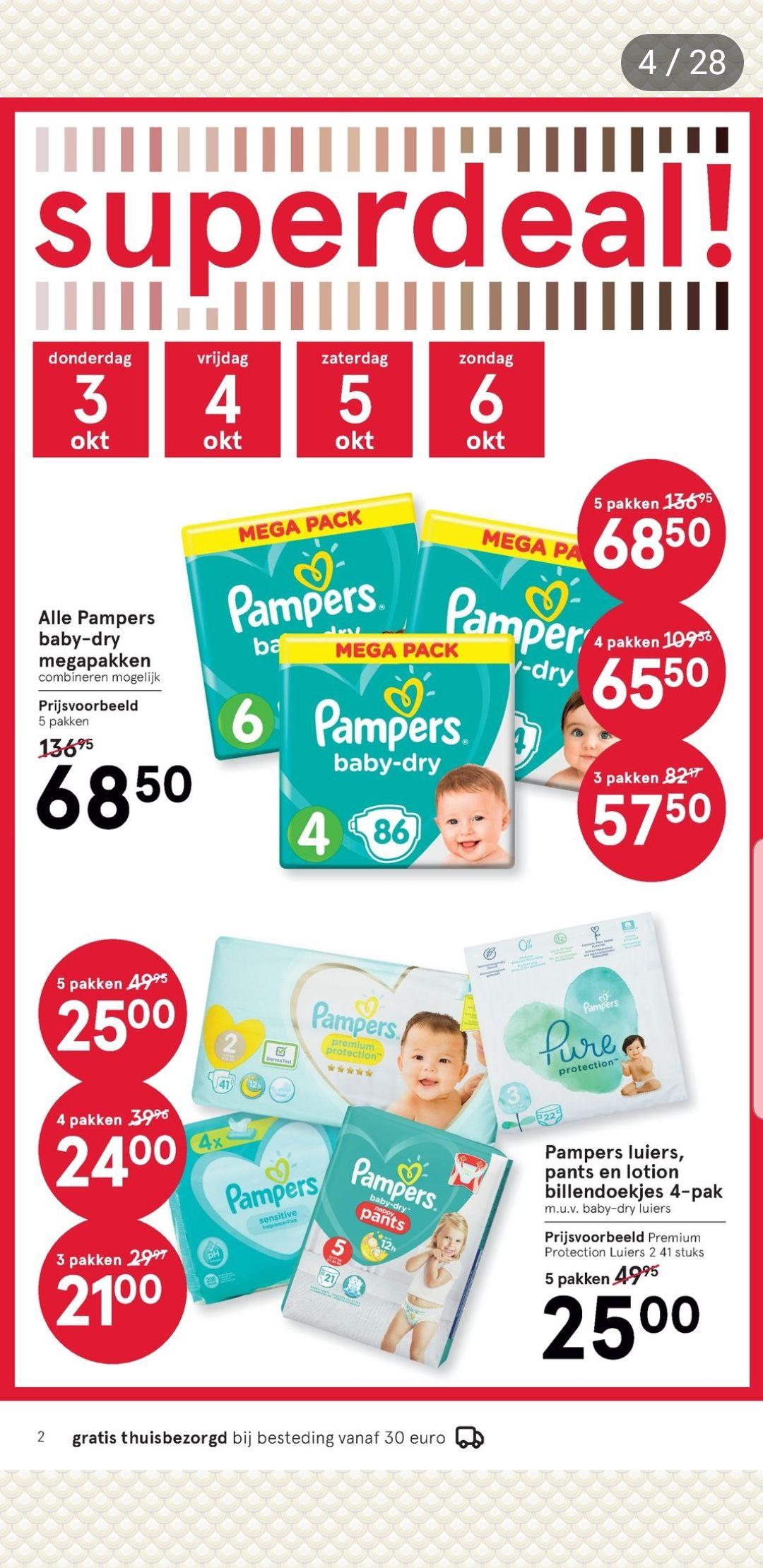 Pampers luiers,pants en lotion billen doekjes (m.u.v. baby dry)