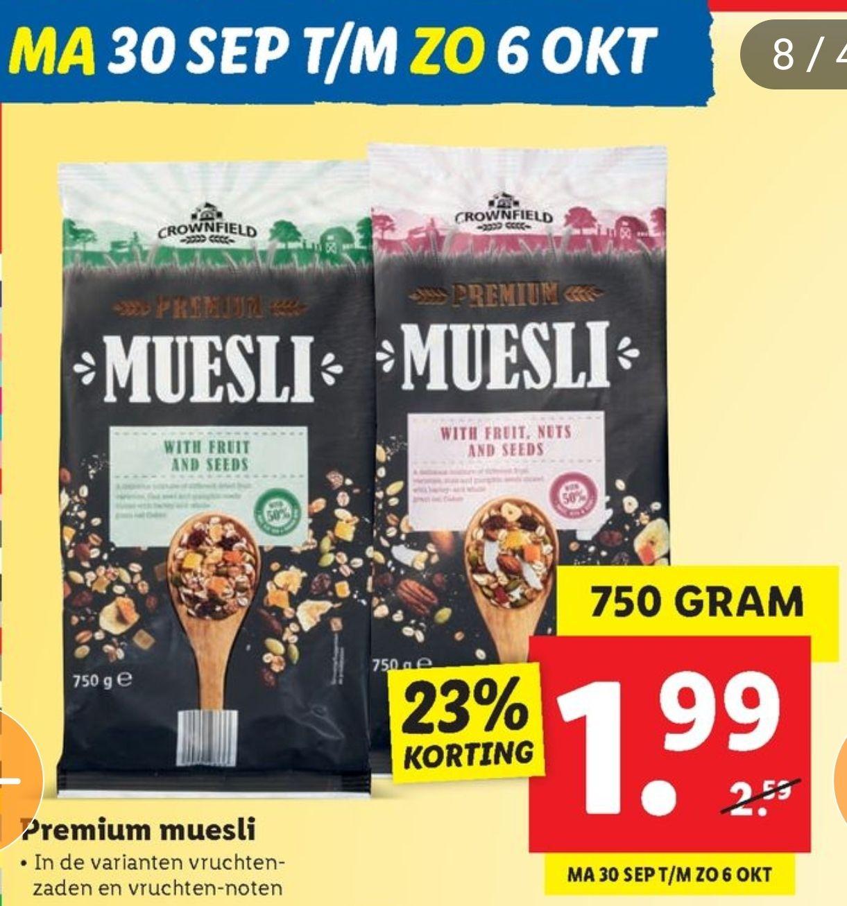 Premium Muesli 750gr extra korting @Lidl