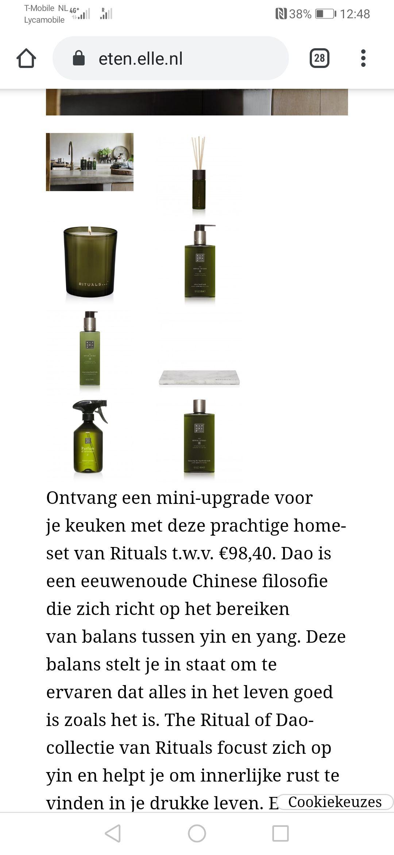 Rituals home Dao set t.w.v 98, 40 plus 6 tijdschriften Elle eten