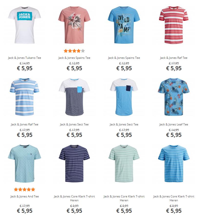 Jack & Jones t-shirts voor €5,95 / €7,95 @ plutosport