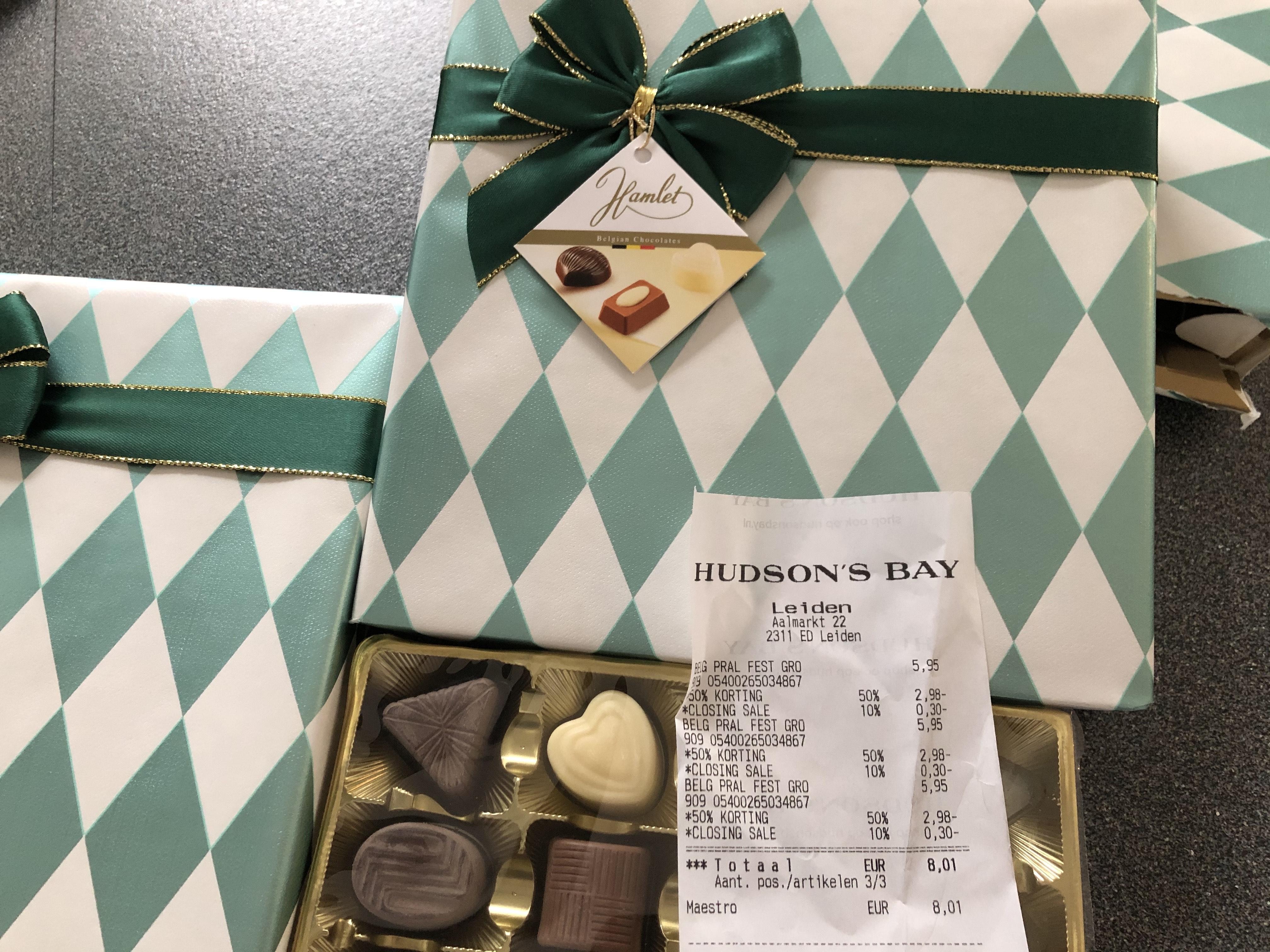 Hudson's Bay Belgische Pralines 50% + 10% korting €2,67
