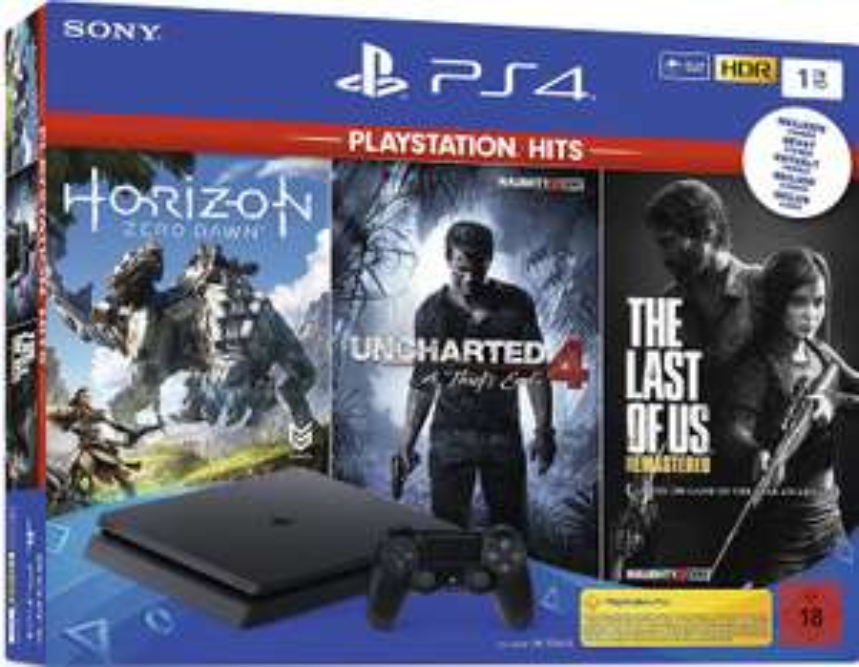 PlayStation 4 - Hits Bundle (1TB, zwart, slim) inclusief Uncharted 4, The Last of Us, Horizon Zero Dawn