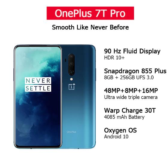 Oneplus 7t pro global 6,67 inch 8 gb/256gb blauw @ aliexpress