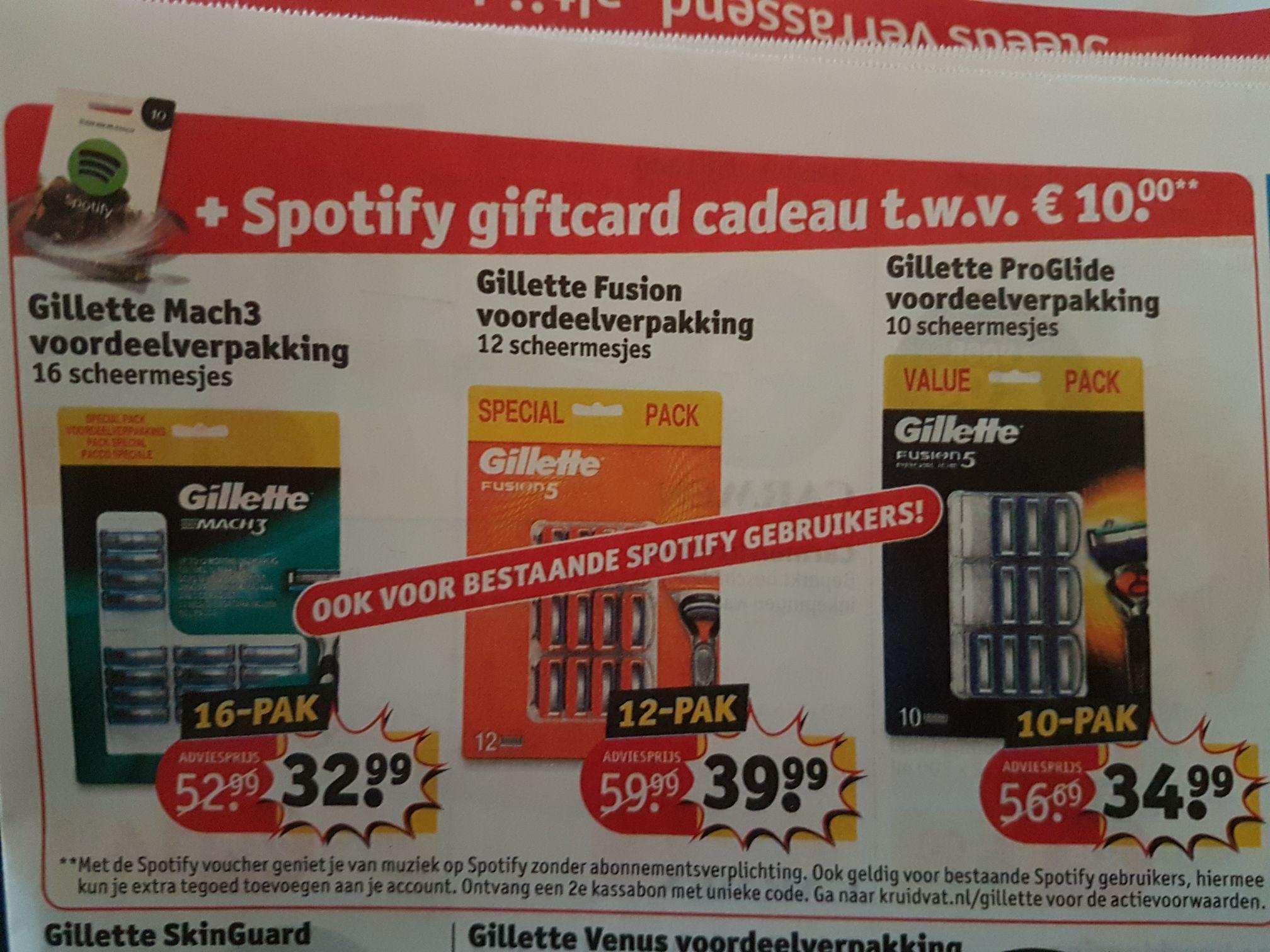 Gratis Spotify giftcard twv 10 euro bij aankoop voordeelverpakking Gilette Mach3, Fusion of Proglide