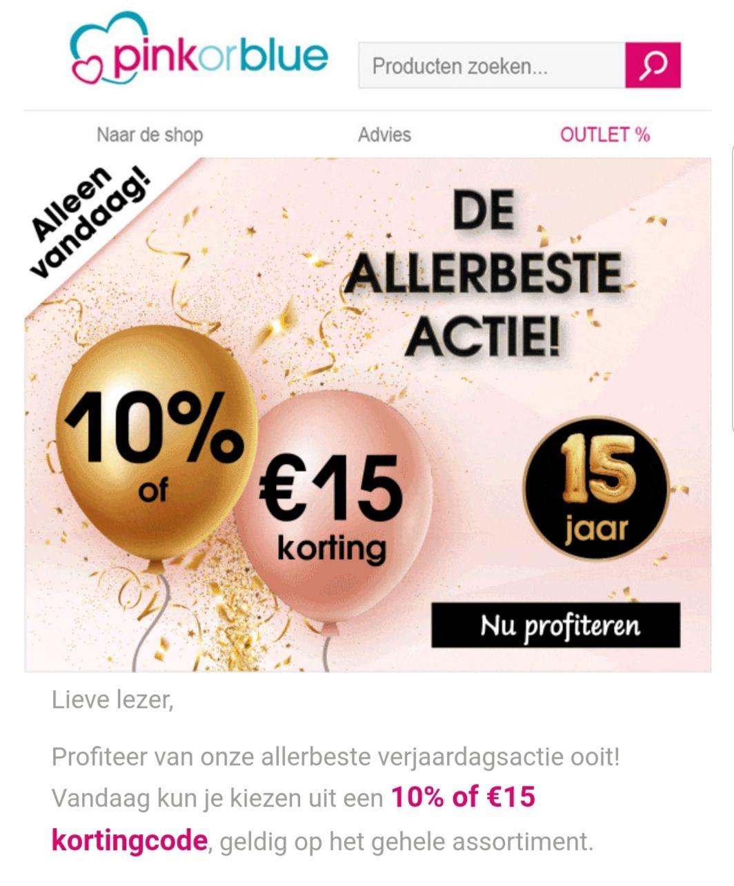 Pinkorblue 10% of 15euro korting