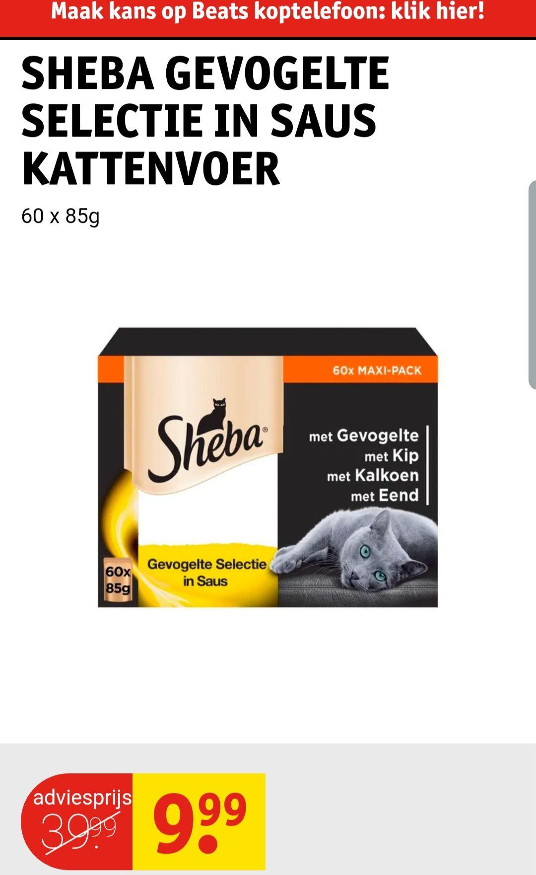 60 Zakjes Kattenvoer Sheba Gevogelte selectie in Saus @Kruidvat