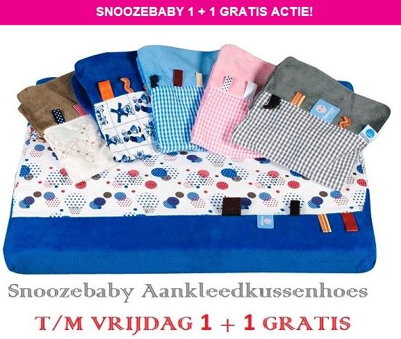 1+1 GRATIS op alle Snoozebaby aankleedkussenhoezen @ Ik & Ik
