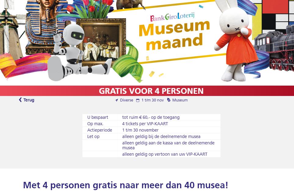 VIP-kaart BankGiro Loterij? Met 4 personen gratis naar meer dan 40 musea in november!