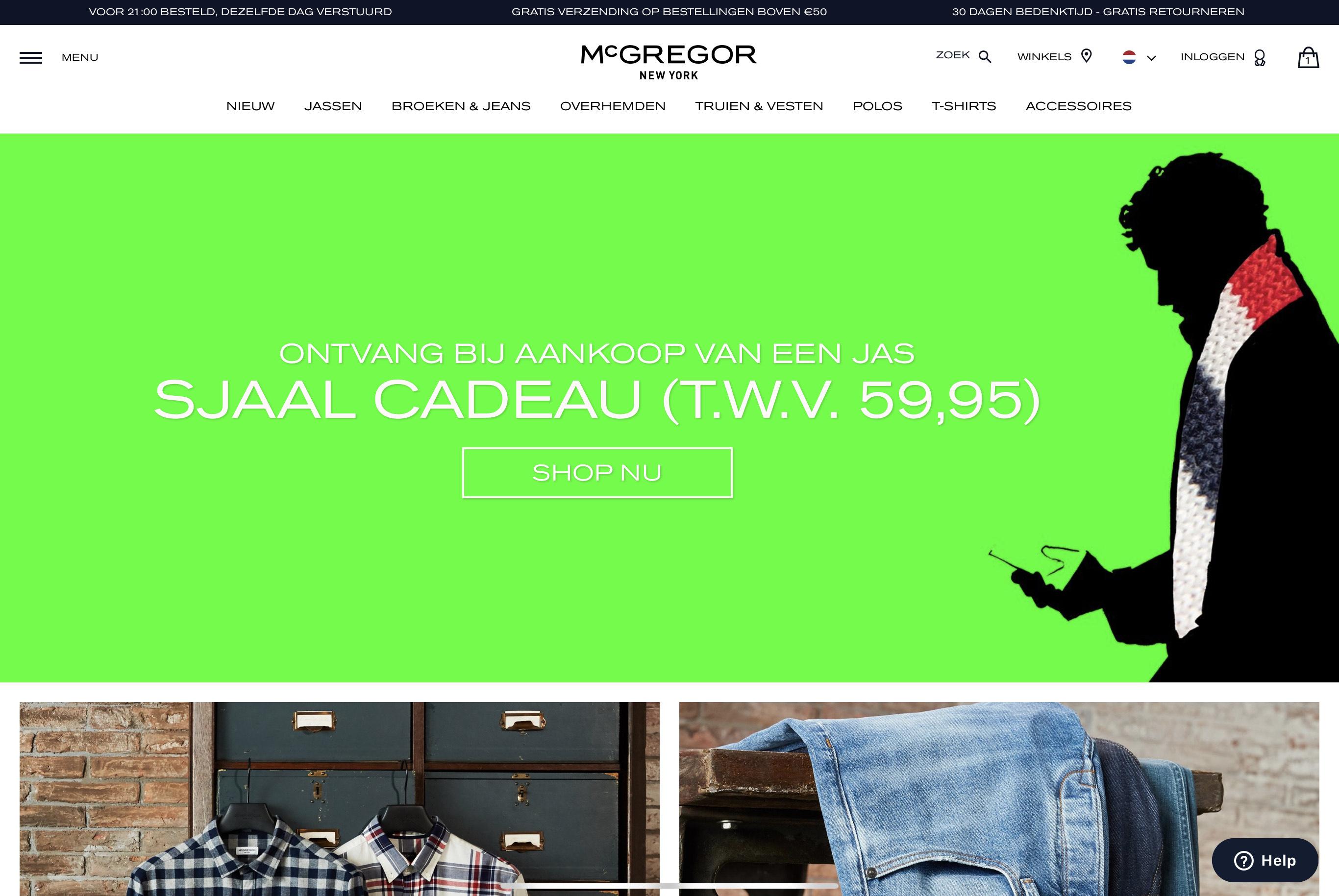 GRATIS Sjaal T.W.V € 59,95 Bij aankoop van een McGregor jas.