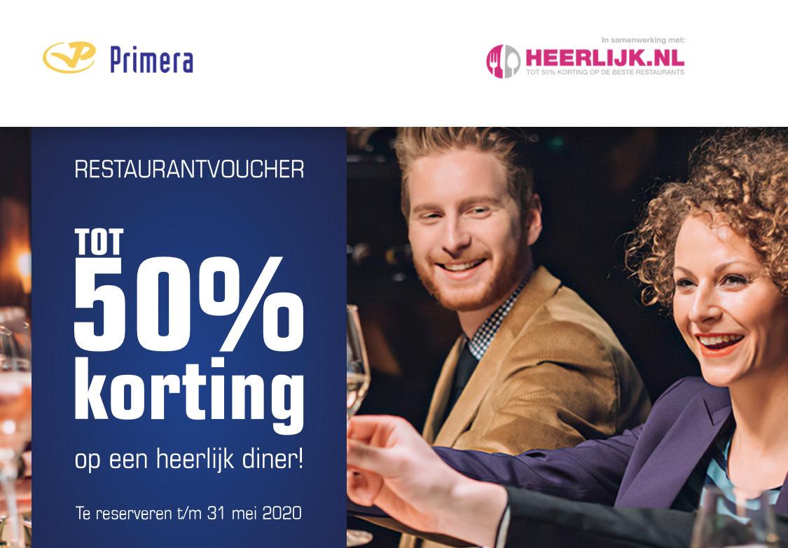 Gratis restaurantvoucher bij Primera; (tot) 50% korting op diner.