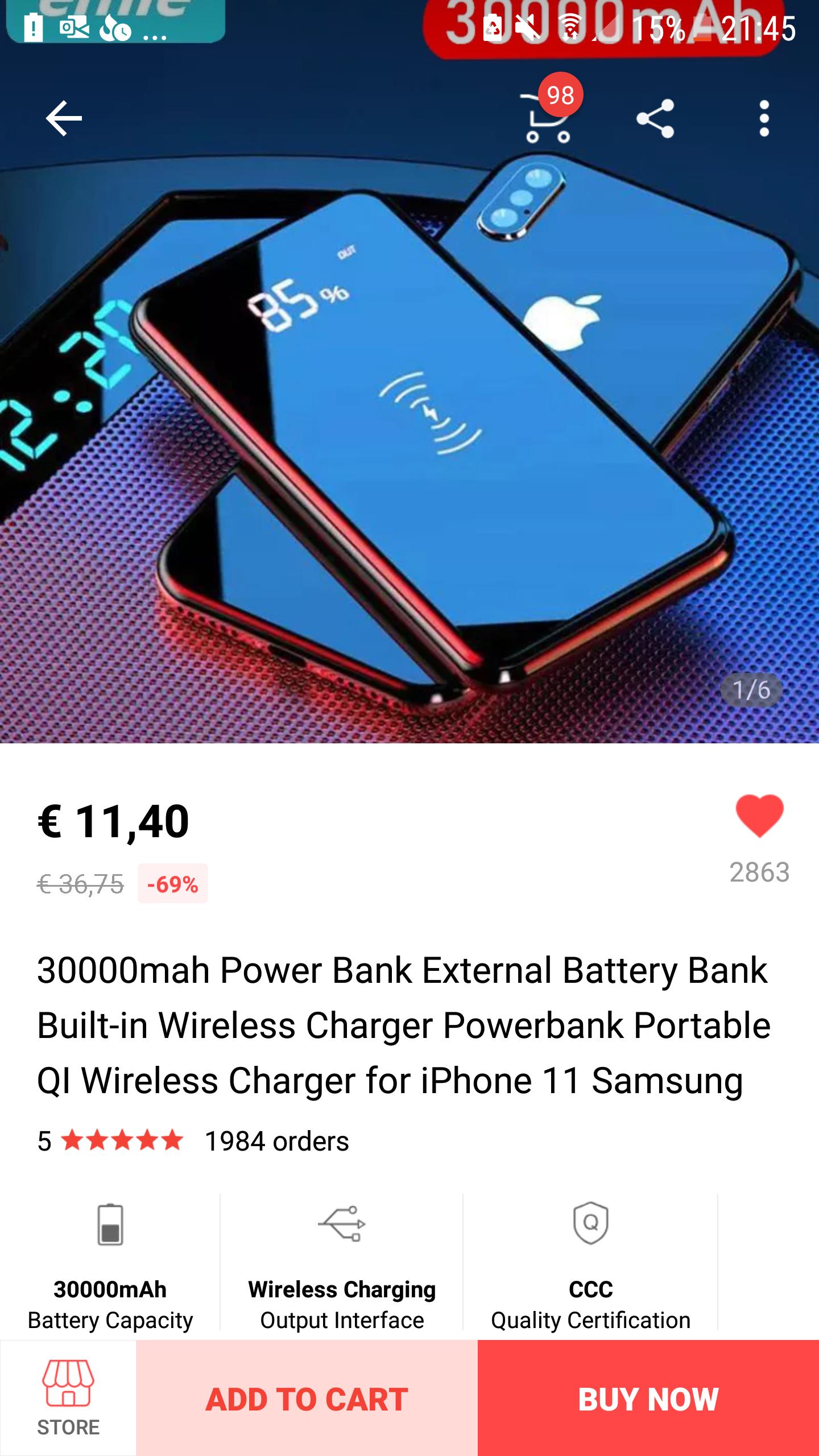 30000mAh wireless Powerbank nu voor €11,40