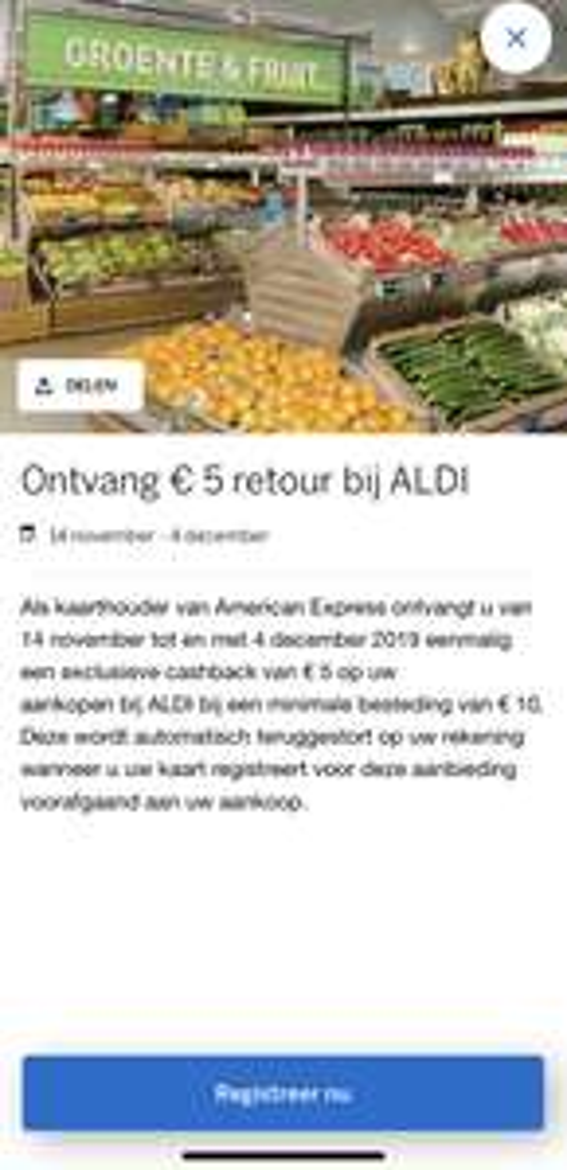 €5 korting bij HEMA American Express