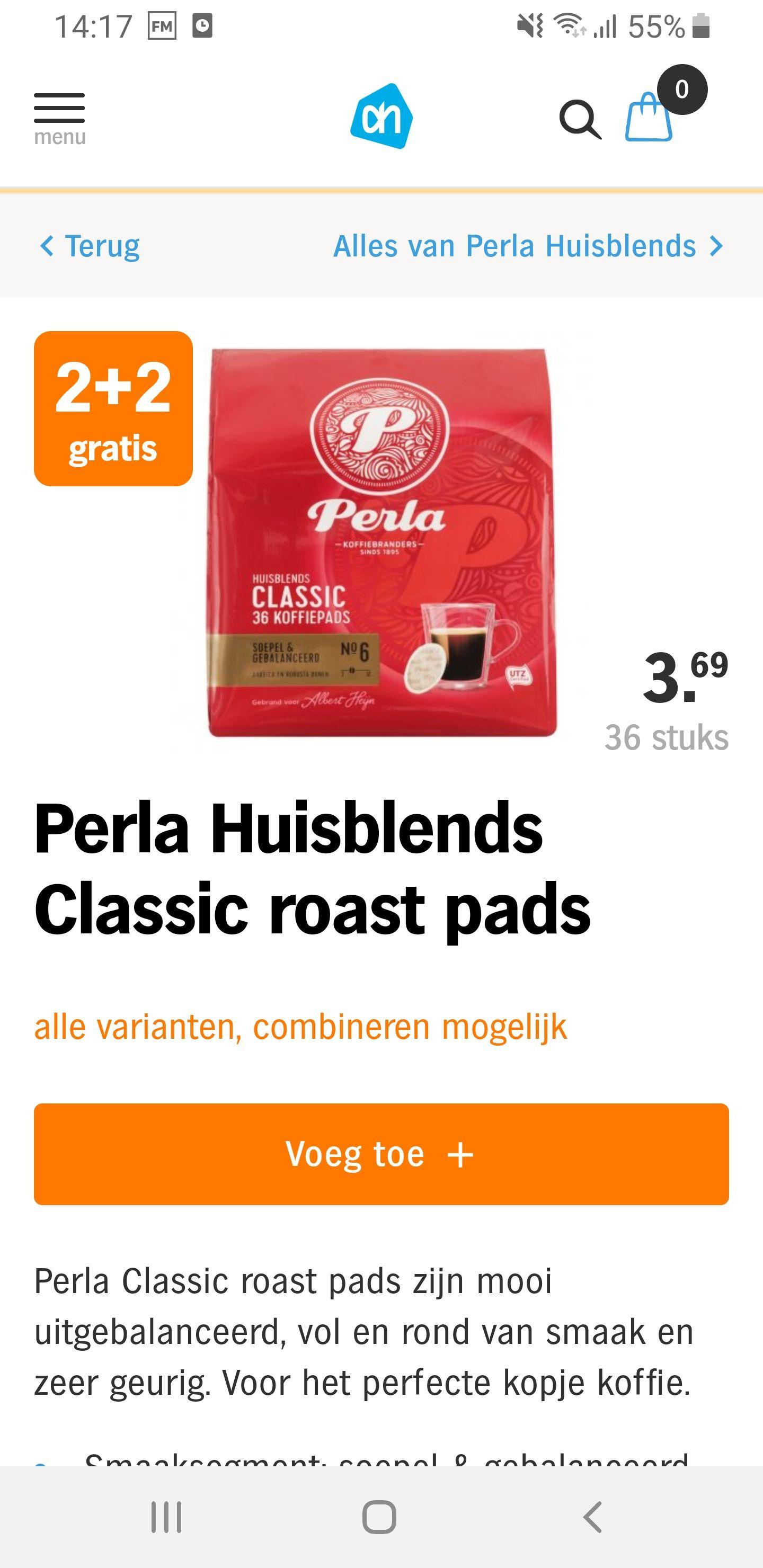 4×36 Perla koffie pads
