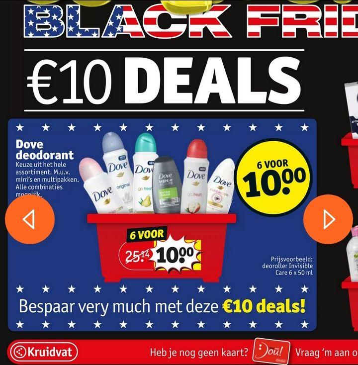 [tot 80% korting] 6 Dove deodorant voor €10,- (ook Maximum Protection) @Kruidvat