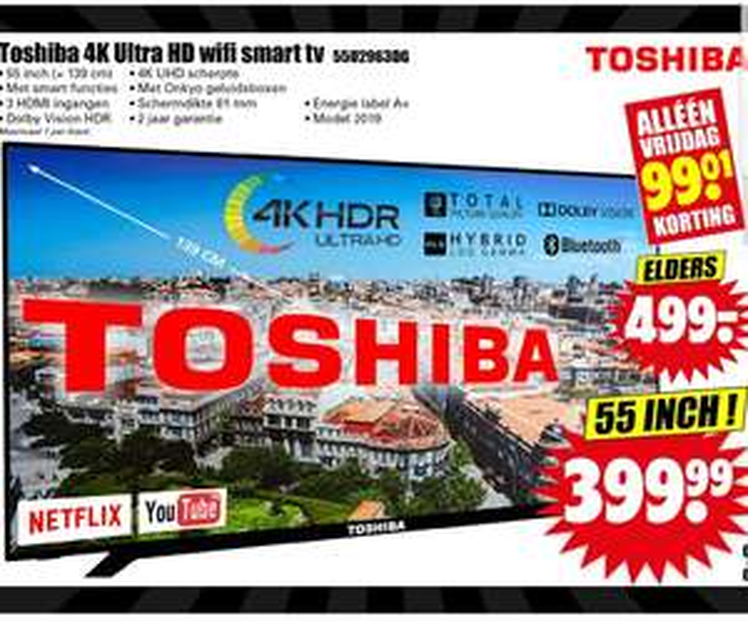 Dirk: Toshiba 4K Ultra HD Wi-Fi smart tv 55 inch