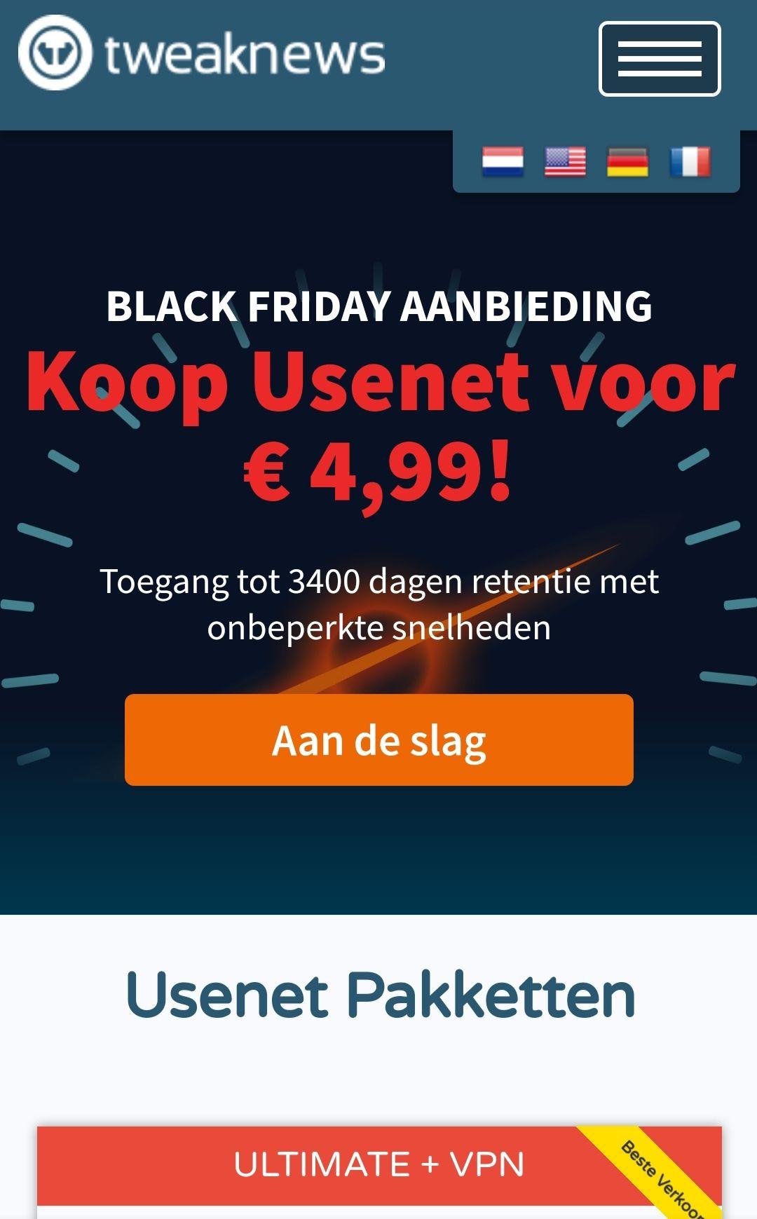Tweaknews - Black Friday - Nieuwsgroepen + VPN