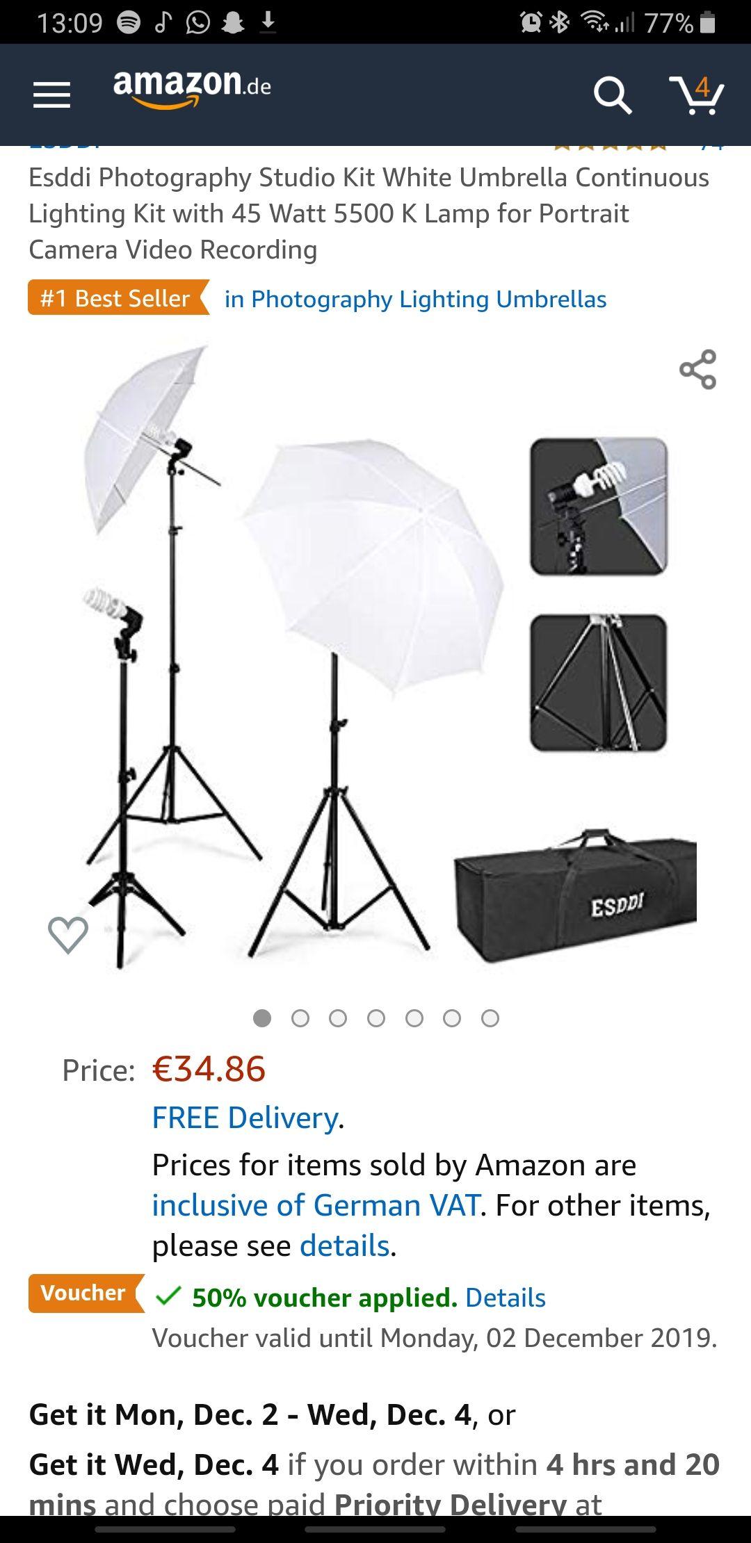 Esddi Photography Studio Kit White Umbrella