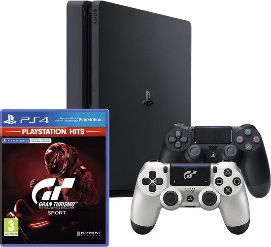 PlayStation 4 Slim 500GB + Gran Turismo GT Sport + 2 Wireless Dualshock 4 V2 Controllers