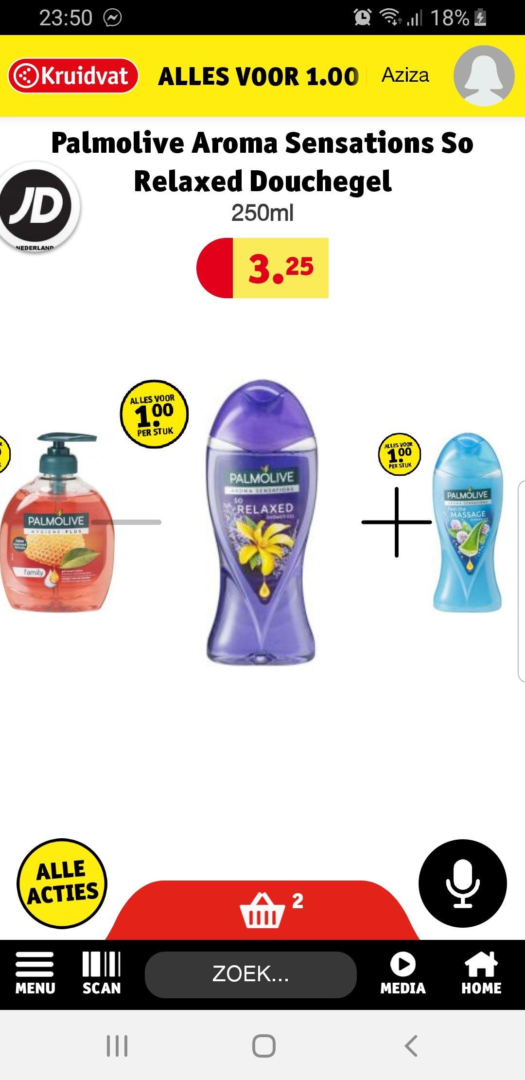 Palmolive 1 euro p.s. maar ook de flessen 650 ml