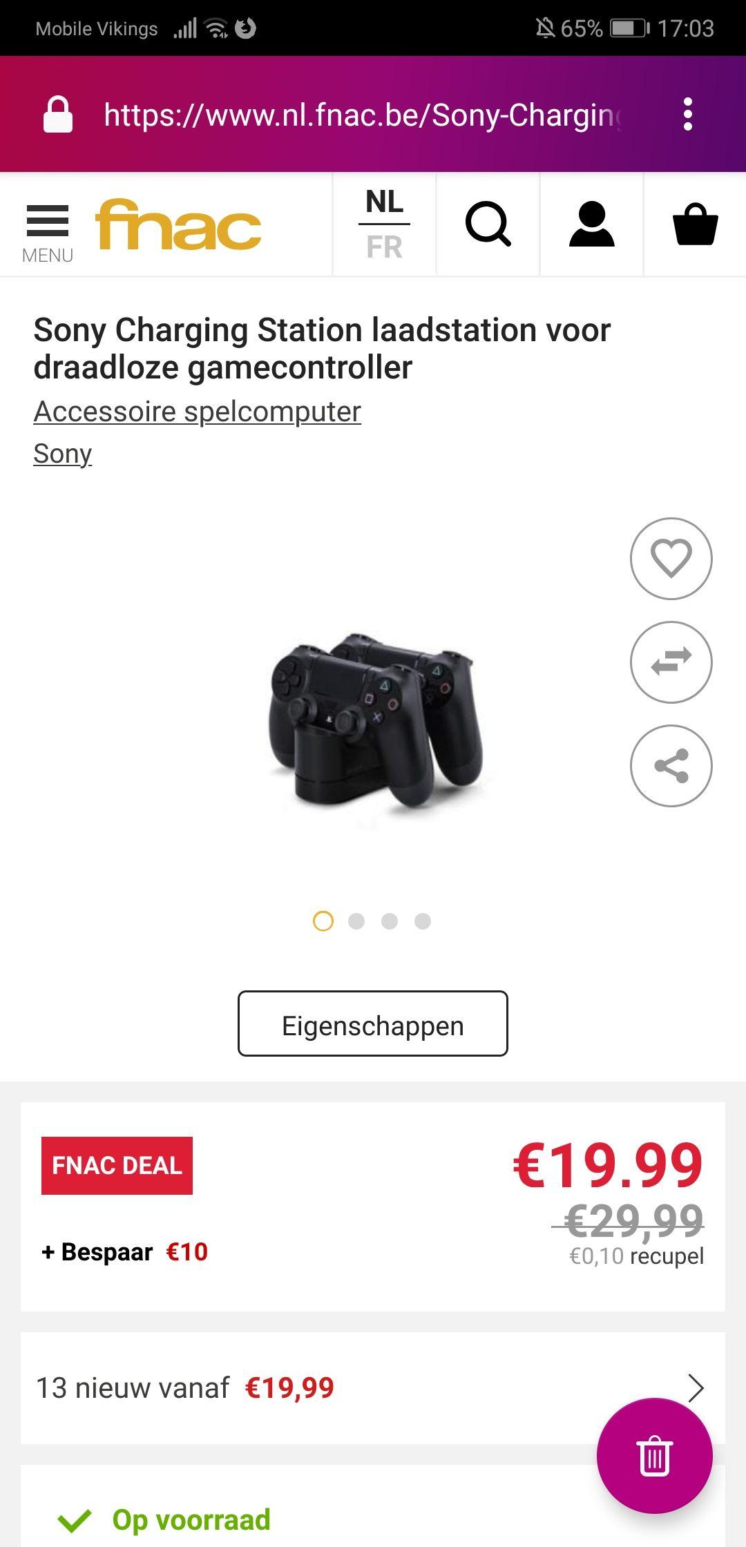 (BE) Sony DualShock Laadstation (ps4) voor 19,99 ipv 29,99