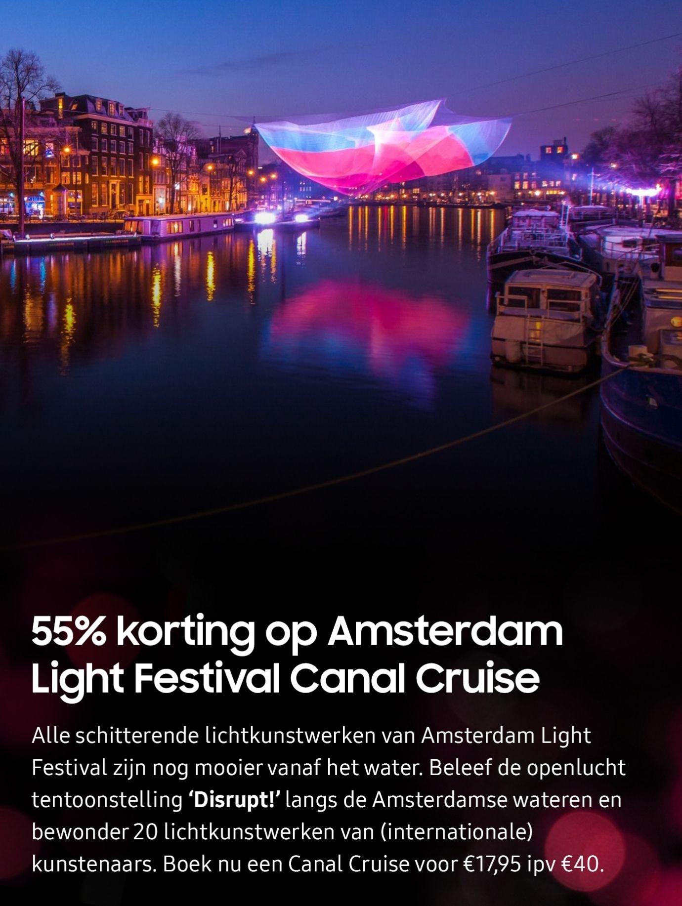 [Samsung Members] 55% korting Amsterdam Light Festival Canal Cruise