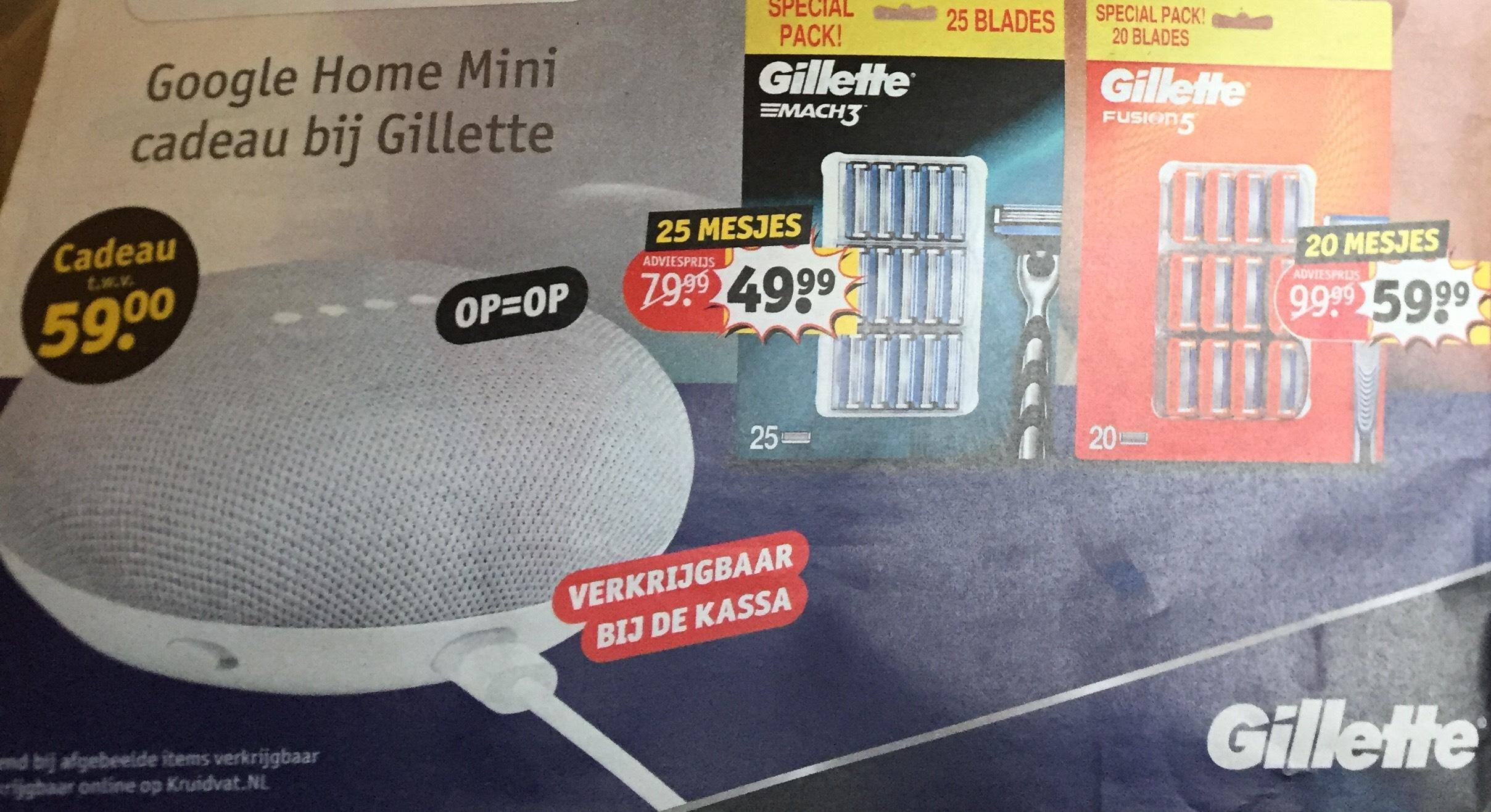 Kruidvat: Gratis ' Google Home Mini' bij aankoop van Gilette Mach3 of Fushion 5