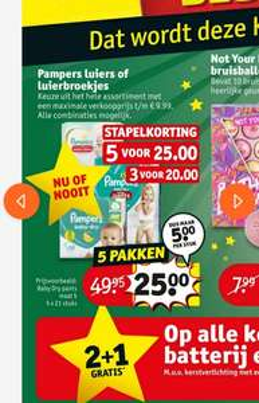 [tot 50% korting] Pampers 3 pakken €20 of 5 pakken voor €25 @kruidvat, 2 pakken €10* of €14 en 3 pakken €18 @trekpleister