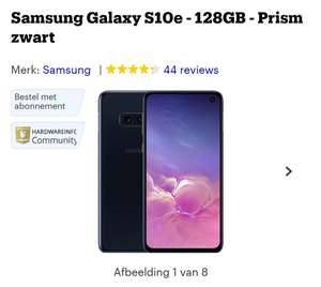 Samsung Galaxy S10e - 128GB - Prism zwart
